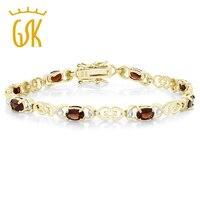 GemStoneKing 5.00 Ct Natural Garnet Bracelet For Women 18K Gold Plated Sterling Silver Bracelet with Diamond Accent