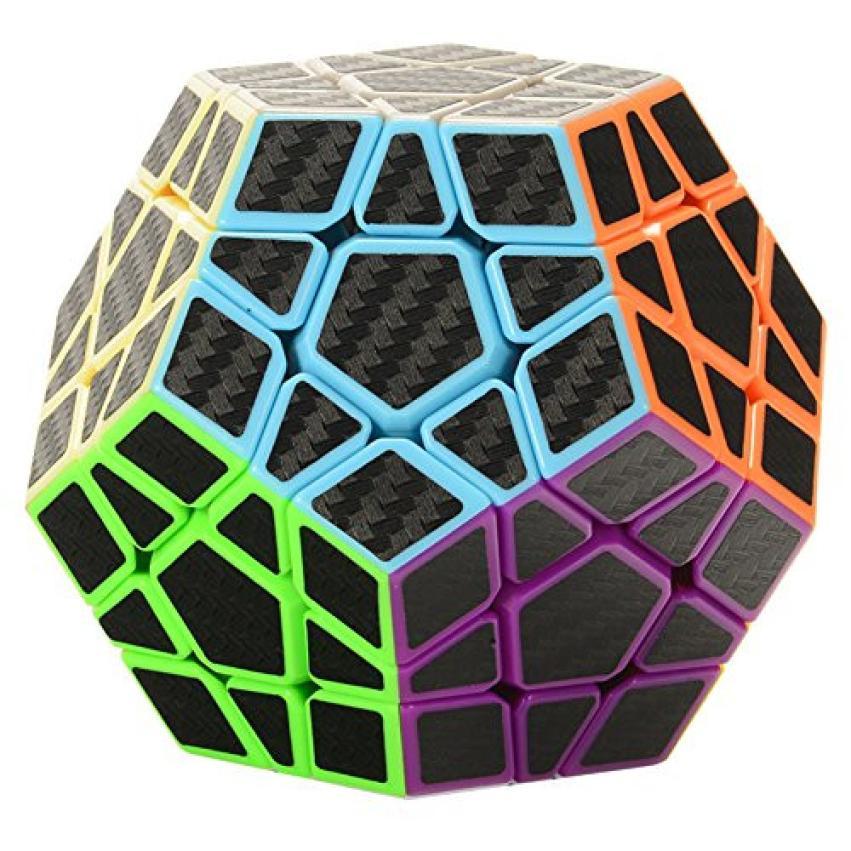 3x3 megaminx Cubo de velocidad rompecabezas con carbono Fibra etiqueta suave pentagonal dodecahedron Rompecabezas cubo iuneed tienda de juguetes