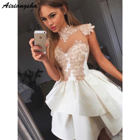 Cute vestidos de fiesta A Line Crew Neck Cap Sleeves Appliques Short Party Cocktail Dresses Junior Lace White Homecoming Dress