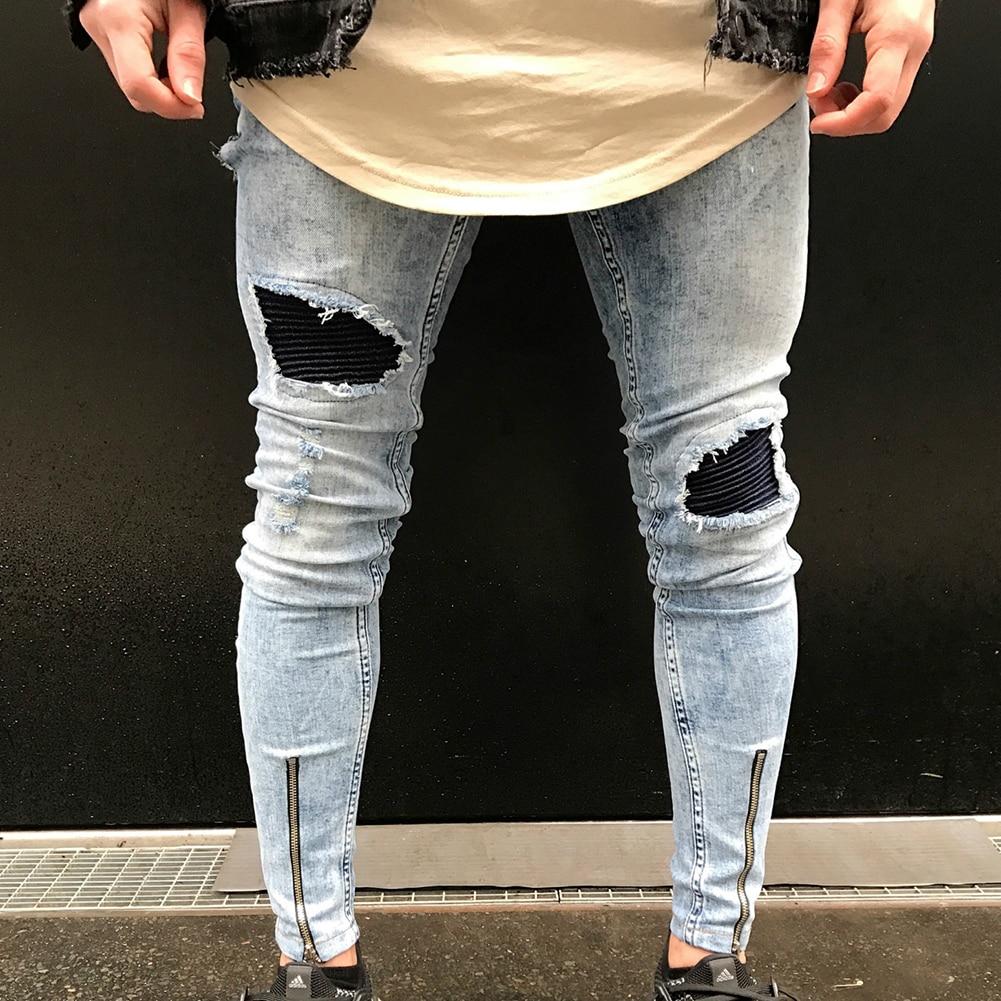 Men's Fashion Ripped Skinny Jeans Frayed Slim Fit Denim Pants Trousers Gift цена