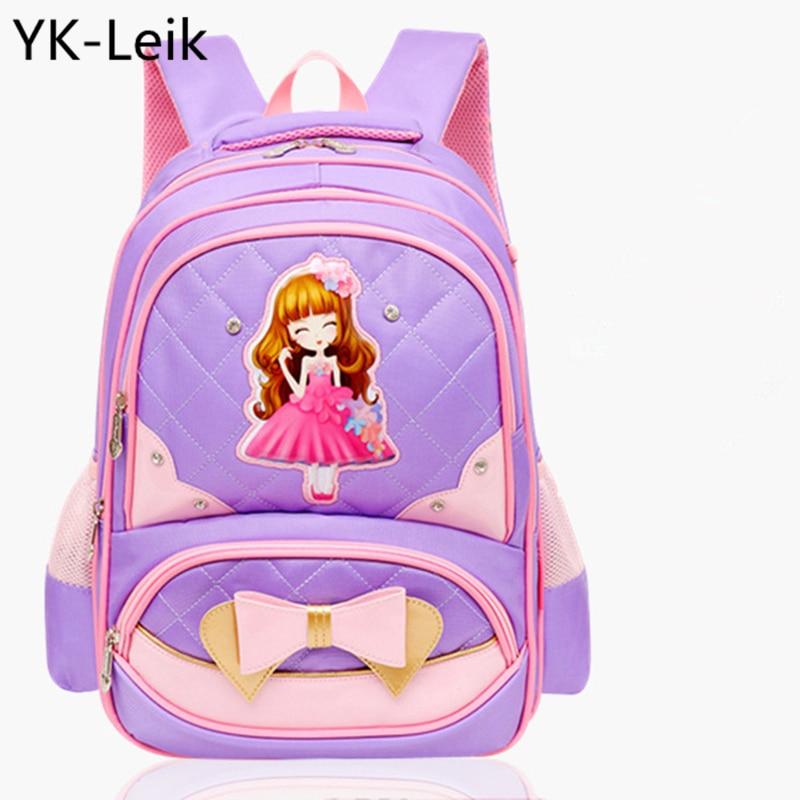 YK-Leik Korean printing children school bags for girls Suitable for grades 1-6. child orthopedic breathable school backpacks
