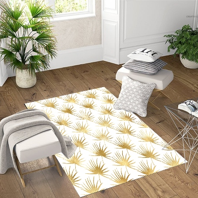 Else Golden Yellow Flower Floral Leaves 3d Print Non Slip Microfiber Living Room Decorative Modern Washable Area Rug Mat