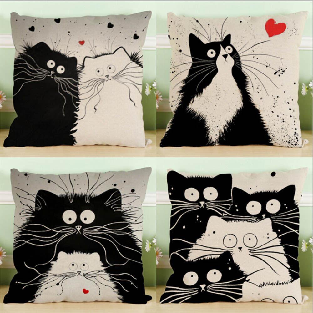 Online Shop Black White Cats Wedding Gift Cushion Cover Wholesale