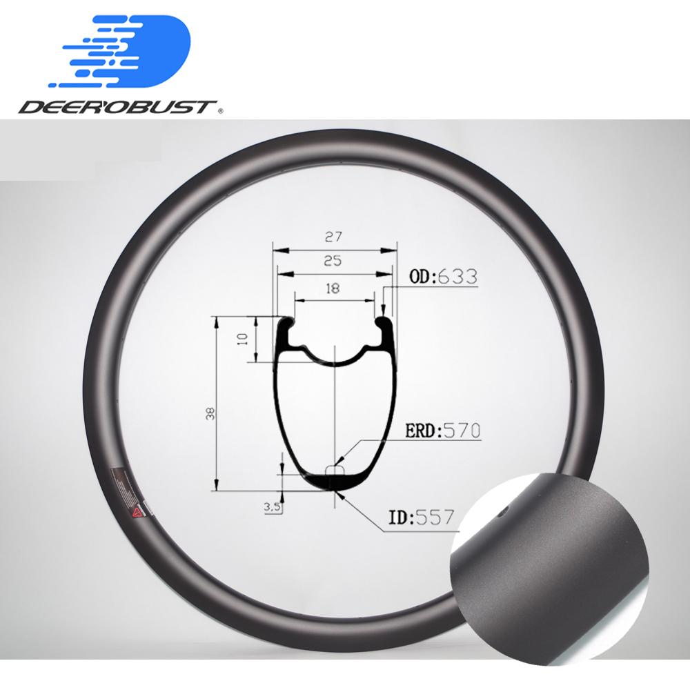380g 700c 38mm X 25mm Tubeless Clincher Carbon Bicycle Rims Cyclocross Bike Rim Road Disc CX Wheel No Brake Track 20 24 28 Holes