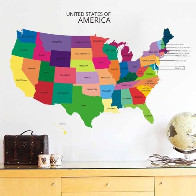 New Design Usa Map Wall Sticker Decal Vinyl Home Office Wall Decor