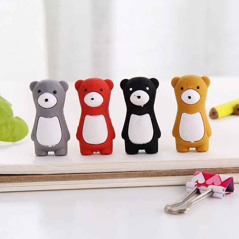 40pc/lot Cartoon Stands Cute Bear Animal Rubber Eraser/ Stationery For Children Students/nice Gift Toy Eraser/wholesale