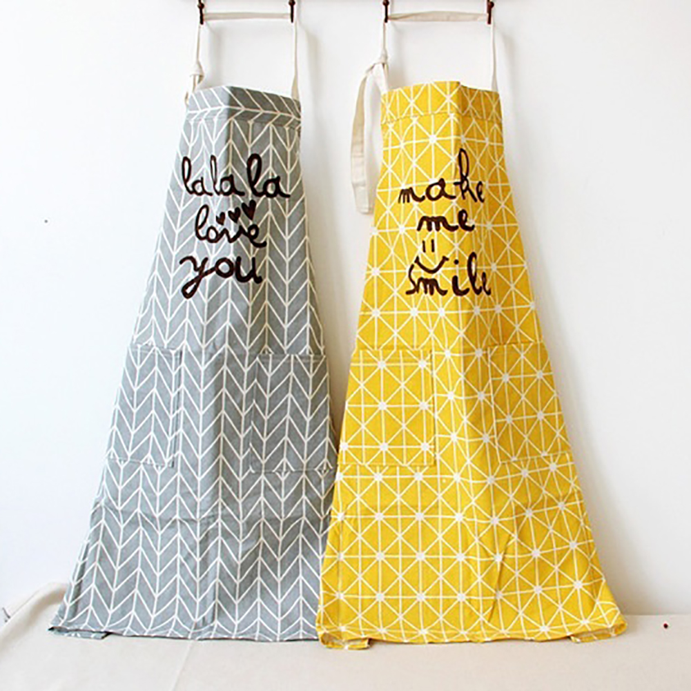 Geometric Pattern Letter Print Unisex Cotton Linen Aprons for Kitchen Cooking