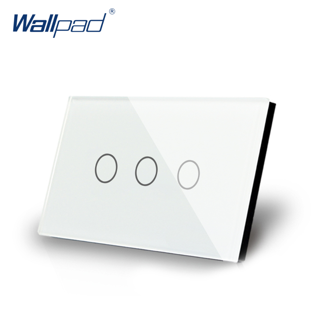 3 Gang 1 Way Touch Switch US/AU 118*72mm Wallpad Luxury Crystal White Glass LED Indicator Electrical Wall Light Switch livolo us au 118 wall switch 3 gang 2 way crystal glass panel ac 250v touch light switch for led lamp switch wall touch switch