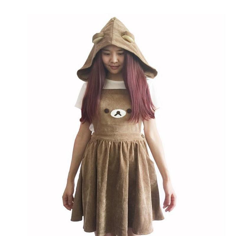 Cute Costumes Rilakkuma San-X Kawaii Gaun Jumpsuit Beruang Bordir Lolita Keseluruhan Rok & Hat Dress Girls Cospay Costumes Gifts