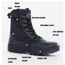 Mężczyźni czarne taktyczne wojskowe buty wojskowe oddychająca skóra Mesh High Top Casual praca na pustyni buty męskie SWAT kostki buty wojskowe tanie tanio Dla dorosłych Płótno Niska (1 cm-3 cm) RUBBER Pasek stawu skokowego Pracy i bezpieczeństwa Zima Pasuje mniejszy niż zwykle proszę sprawdzić ten sklep jest dobór informacji