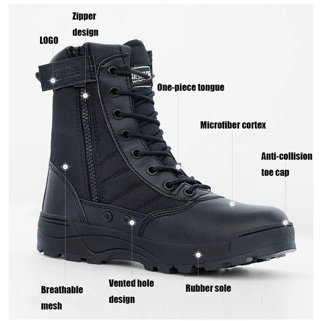 a9552fc11cea Men Black Tactical Military Army Boots Breathable Leather Mesh High Top  Casual Desert Work Shoes Mens SWAT Ankle Combat Boots