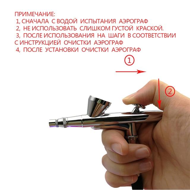 Boquilla de 0,2mm Kit de aerografía de doble acción compresor portátil cepillo de aire de la pistola de pintura para arte de uñas diseño tatuaje pastel cepillo de aire