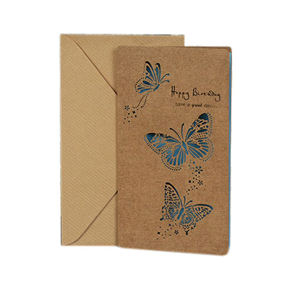 1pc Creative Cute Birthday Card Retro Nostalgia Kraft Color Hollow Greeting Cards Birthday Cards Monther's Day 1 set of hollow valentine s day greeting card kraft paper card holiday cards birthday cards blessing