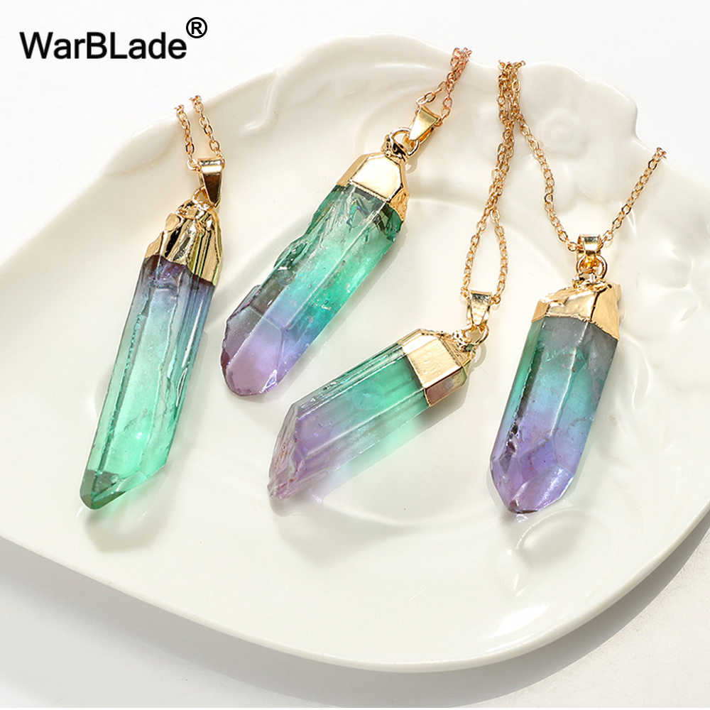 WarBLade Natural Stone Quartz Pendant Necklace Colorful Natural Irregular Crystal Stone Pendants Gold Side Necklaces For Women