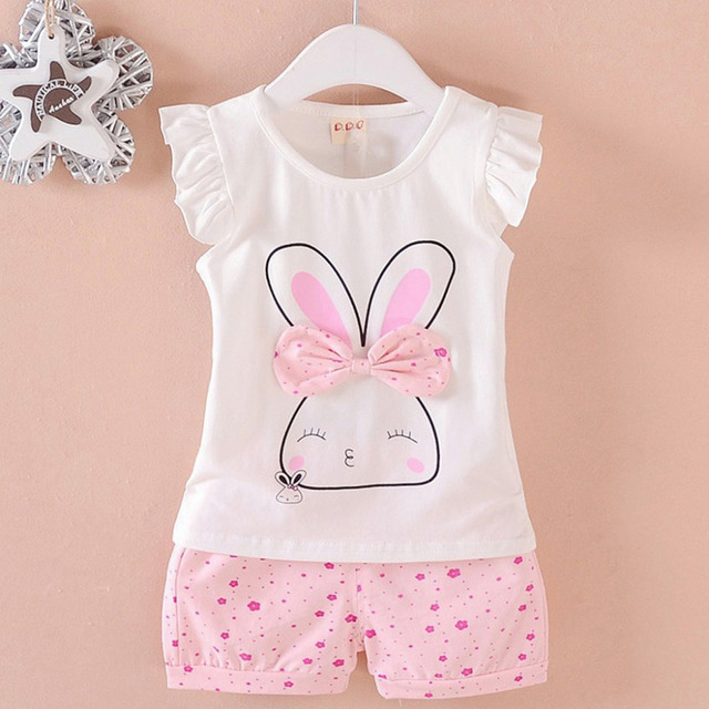 ISHOWTIENDA Toddler Baby Kids Girls Fly Sleeve Rabbit Bow Tops Dot Short Casual Outfit Set Baby Girl Clothes 2019