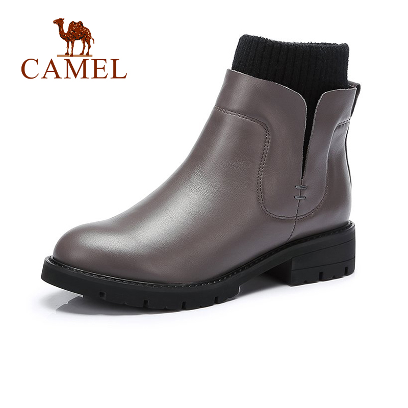 CAMEL Women Genuine Leather Boots Winter 2018 Short Boots British Style Short Boots Shoes Women Flat Heel Round Head Boots round flat bottomed sweet bowknot short boots
