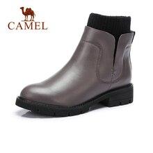 KAMEL Frauen Aus Echtem Leder Stiefel Winter 2018 Kurze Stiefel Britischen  Stil Kurze Stiefel Schuhe Frauen Flache Ferse Runde K.. 3f78243833