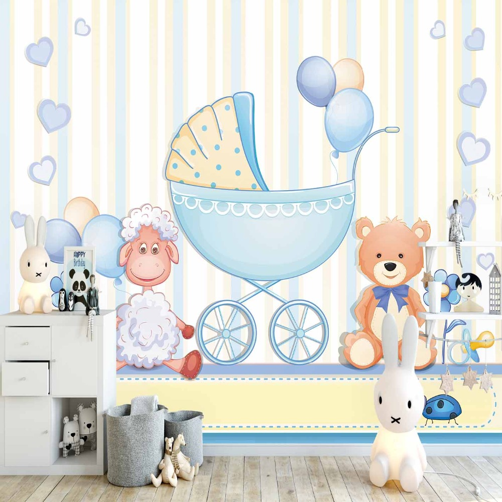 Else Blue Yellow Lines Teddy Bear Lamps Cradle 3d Print Cartoon Cleanable Fabric Mural Kids Children Room Background Wallpaper