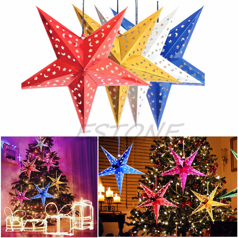 Pendant & Drop Ornaments Home Decor Christmas Tree Ornament Party Hanging Xmas Tree Random Color Pentagram Lamp Shade Paper Star Decorations 1pc Wide Selection;