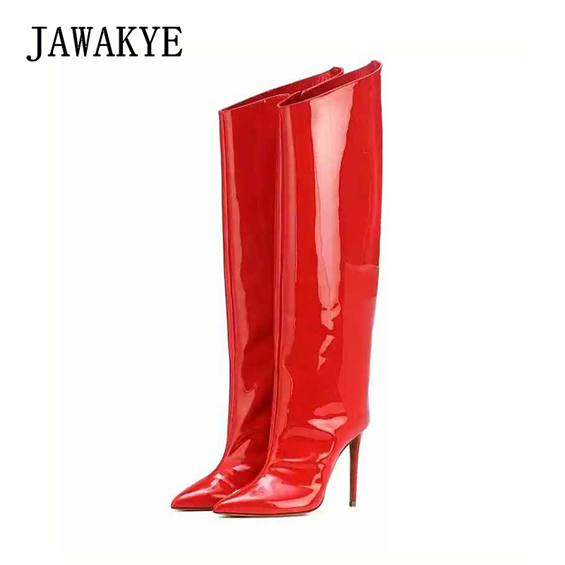 2018 Mirror shiny leather Woman Knee High Boots Designer red gold Thin High heels Shoes Runway Sexy Over the knee Knight boots2018 Mirror shiny leather Woman Knee High Boots Designer red gold Thin High heels Shoes Runway Sexy Over the knee Knight boots