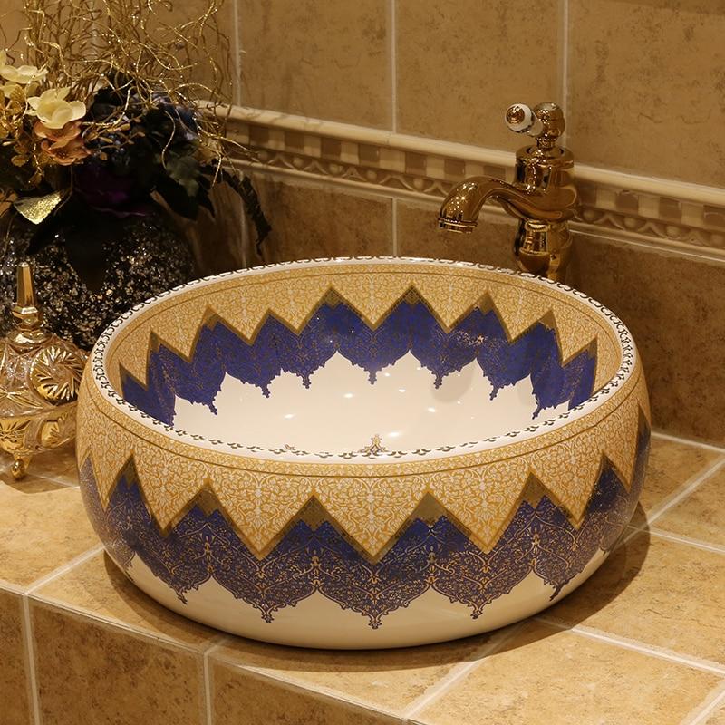 Comptoir méditerranéen à usage domestique lavabo rond style américain européen en céramique art porcelaine salle de bain évier
