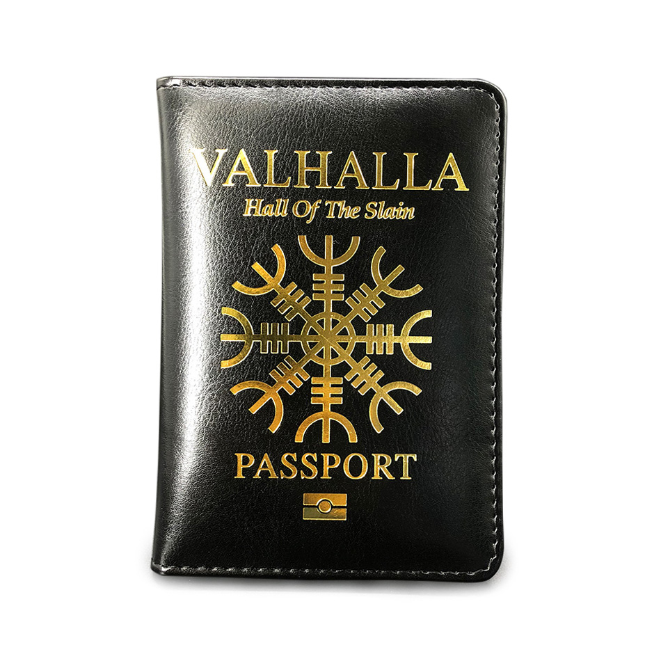 Valhalla Passport Cover Cover Vikings Helmet Of Horror Aegishjalmur Passport Holder Gift For Him Passport Cover Travel