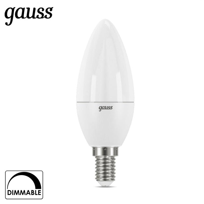 Лампа светодиодная свеча Gauss LED Candle dim E14 7W 3000К 4100К диммируемая 103101107 D 103101207 D Светодиодные лампы и трубки      АлиЭкспресс