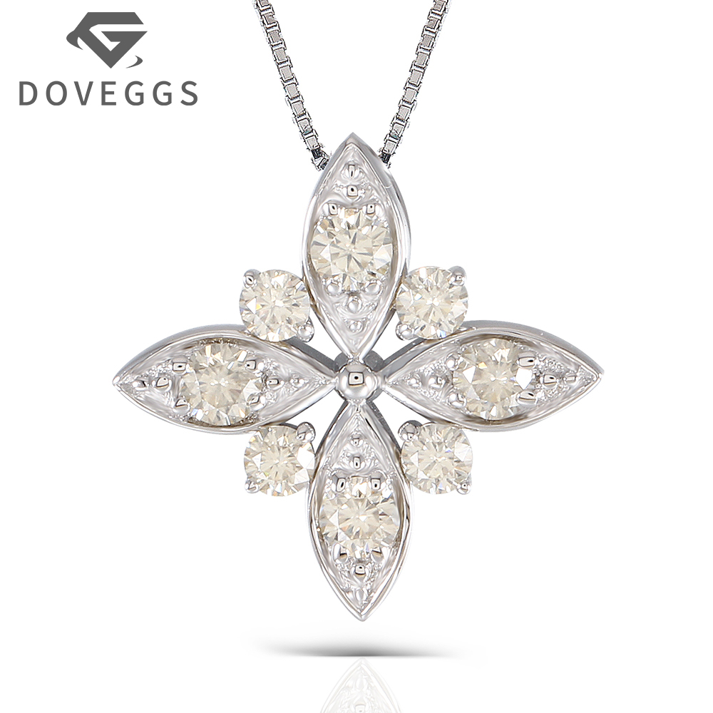 DOVEGGS 1.2CTW 3mm-3.5mm Brilliant Moissanite Pendant Necklace Platinum Plated Silver for Women Four Leaf Clover Shape plated gold jewelry sets four leaf clover necklace jewellery set best gifts for friends and lovers