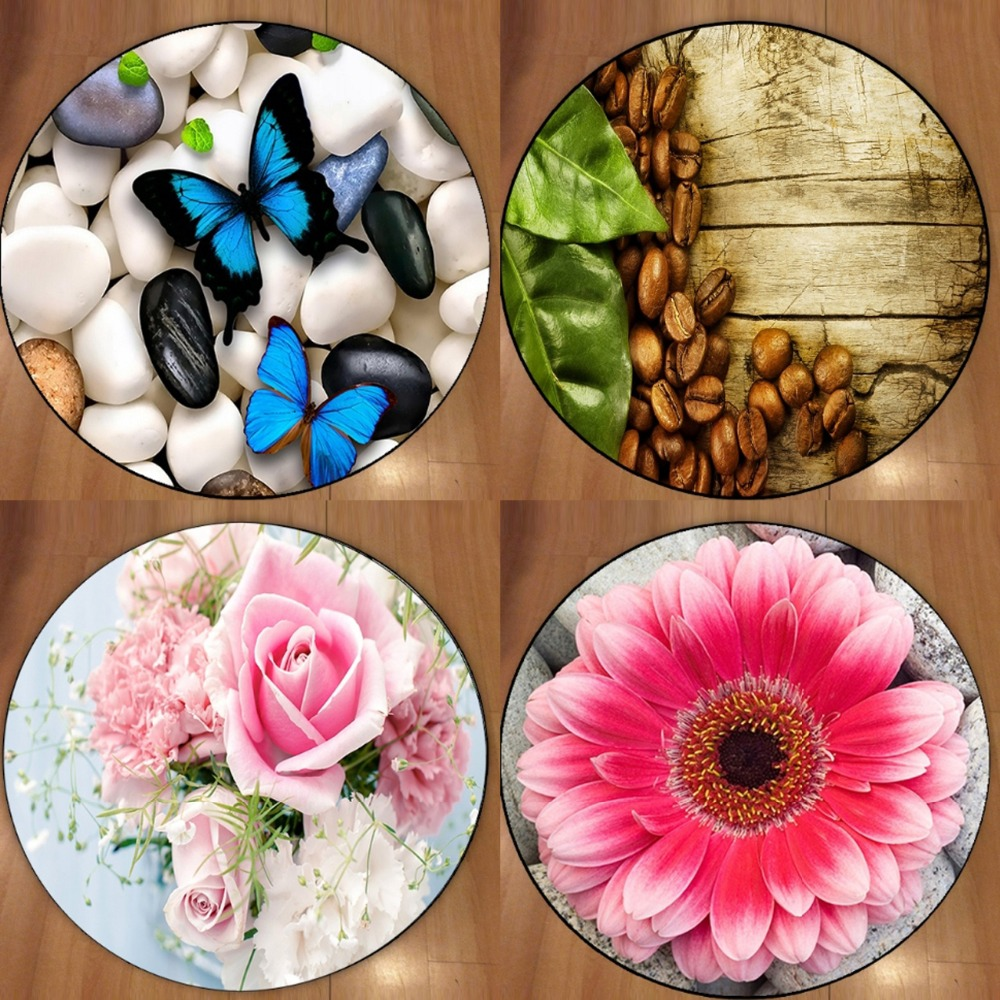 Else Blue Butterfly Pibk Flowers Coffee 3d Non Slip Microfiber Round Carpets Area Rug For Living Rooms Kitchen Bedroom Bathroom