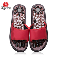 BYRIVER Round Toe Natural Pebble Stone Acupoint Therapy Blood Circulation Foot Care Sandals Flats Shoes Foot Slipper Massager