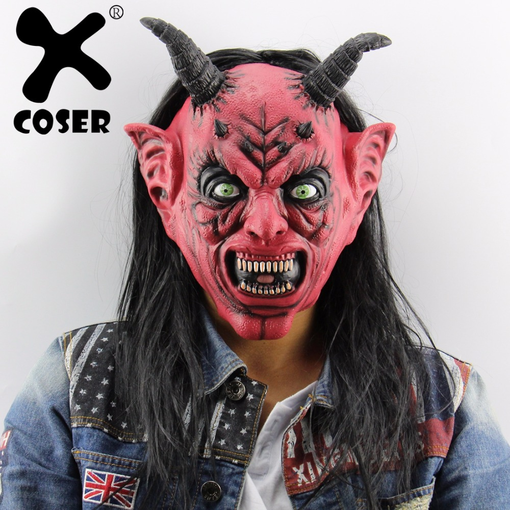 XCOSER Satan devil April Fool Halloween Cosplay Mask Latex horror head Mask Halloween Cosplay Costume Prop For Adult