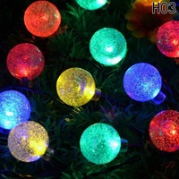 Solar Powered Christmas Tree Decor Waterproof 6M 30 Leds Crystal Bubble Ball Light Wedding New Year