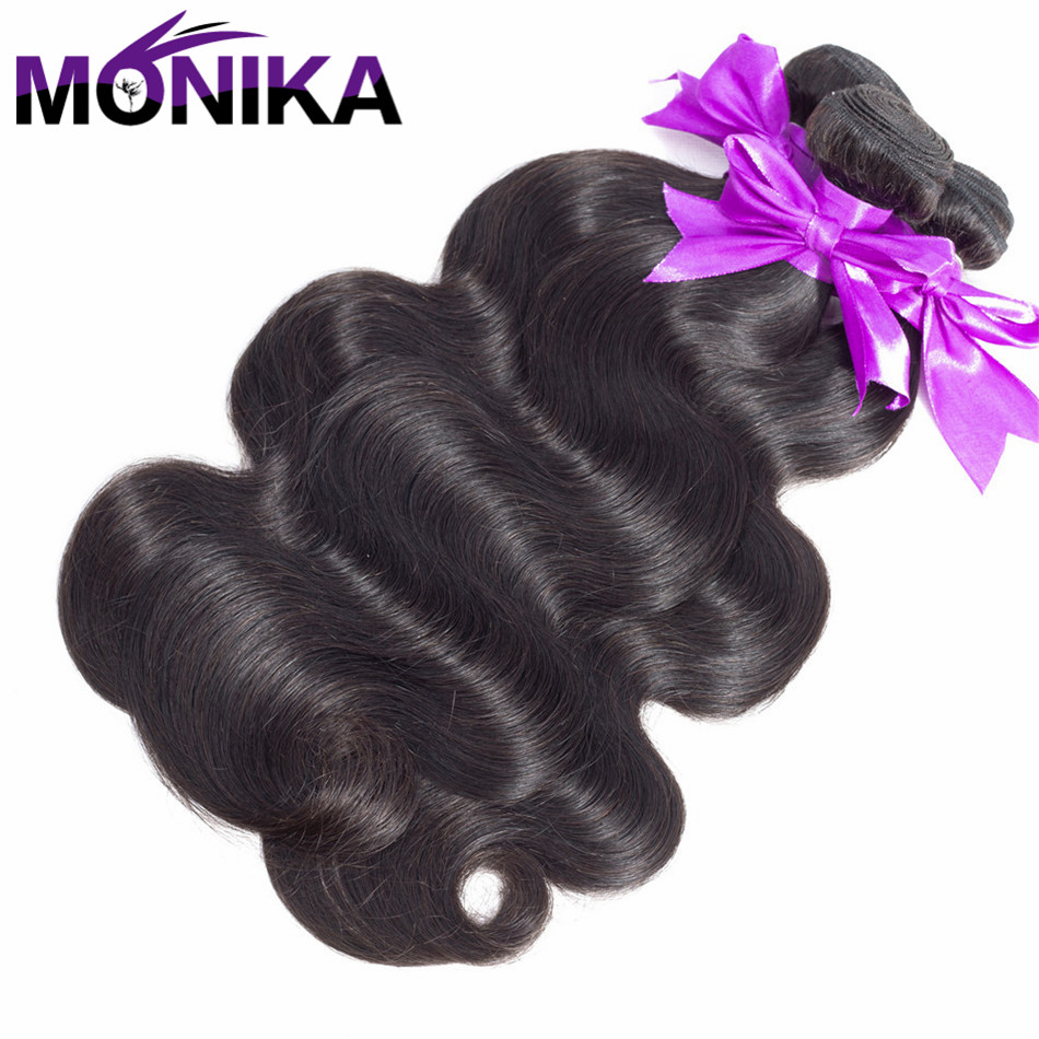Monika Hair Brazilian Body Wave 100% Human Hair Weave Bundles 8 to 26 Inches 3 Bundles Deal Non Remy Hair Extension Double Weft