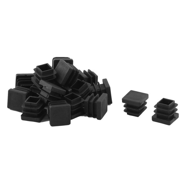 X Autohaux Home Office Plastic Square Table Chair Leg Tube Insert Black 15  X 15Mm 20Pcs