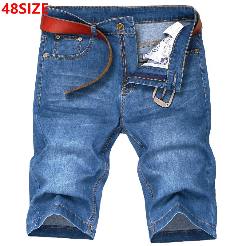 Big size summer large size men's denim   shorts   high elastic thin section plus fertilizer to increase 48 46 44 42 40