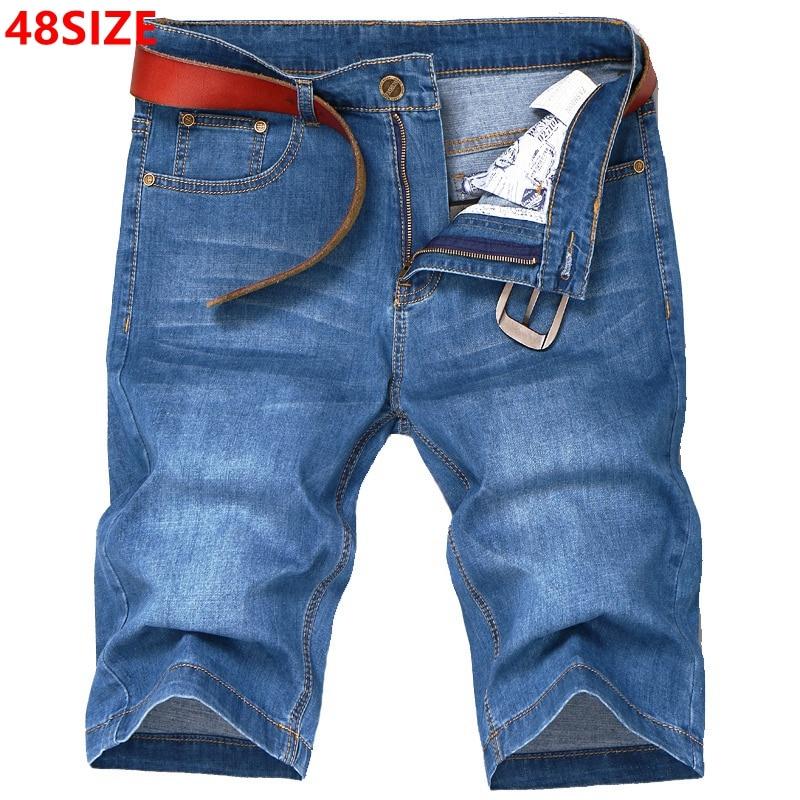 Big size summer large size men's denim shorts high elastic thin section plus fertilizer to increase 48 46 44 42 40