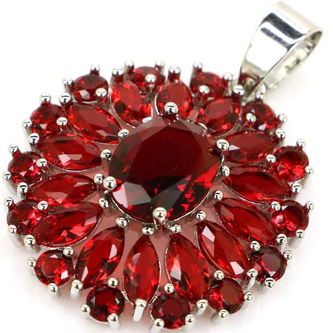 Stunning Red Blood Ruby Woman's Wedding 925 Silver Pendant 32x25mm