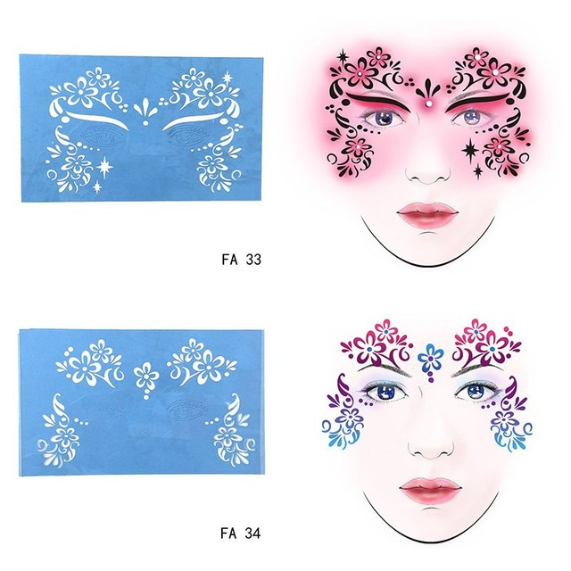 new soft reusable face paint stencil tattoo template flower face