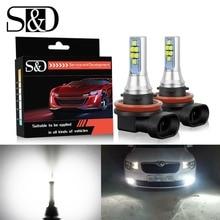 S&D 2pcs LED Fog Bulbs H11 H8 H16 LED Car Light HB3/9005 9006/HB4 5202 PSX24W Canbus LED Cars Daytime Running Light DRL Lamp 12V