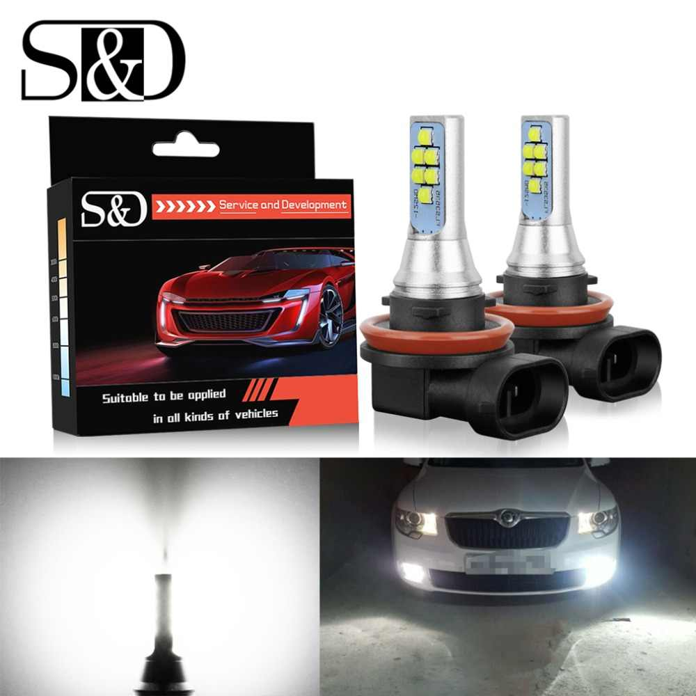 S&D 2pcs LED Fog Bulbs H11 H8 H16 LED Car Light HB3/9005 9006/HB4 5202 PSX24W Canbus LED Cars Daytime Running Light DRL Lamp 12V