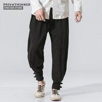 Sinicism Store 5XL Cotton Linen Harem Pants Men Jogger Pants Male Trousers Traditional Chinese Frog Button