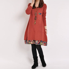 Hot Sale Vestidos 2018 Autumn Women Dress Fashion Floral Print Long Sleeve Casual Loose Holiday Party Dresses Plus Size