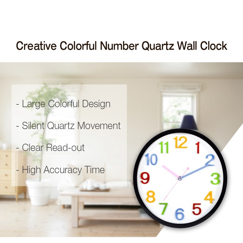 14 Inch Colorful Silent Clock Office Simple Decorative Clock Bedroom  Fashion Modern Quartz Wall Clock For Kid Baby Nursery In Wall Clocks From  Home U0026 Garden ...
