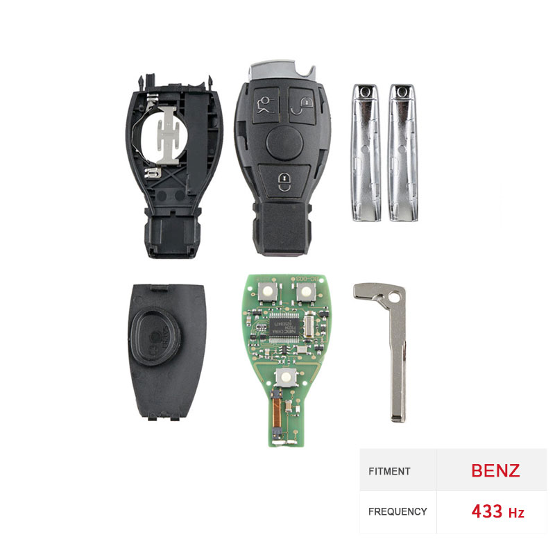 Dzanken3 Buttons Remote Car Key 433Mhz for Mercedes Benz Year 2000+& Transponder Chip& Uncut Blade-in Car Key from Automobiles & Motorcycles