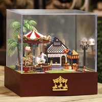 Dollhouse Miniature Playground Carousel Model DIY KIT Music Box With Light DIY Toys For Children Adult