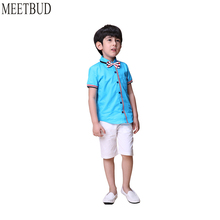 MEETBUD 2018 New summer baby boys clothing set children casual clothes cotton solid boys costume set for kids blue white shirt