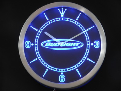 nc0466 Bud <font><b>Light</b></font> Beer Neon Sign LED Wall Clock