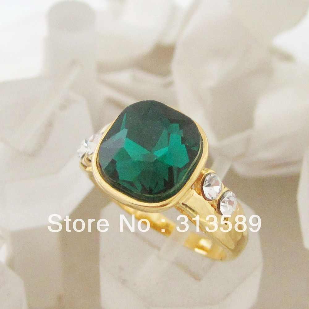 Лучший желтый Золотой GP заполненный латунный кольцо с зеленым камнем CZ камень SZ7 8 9/отличный подарок/