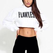 Women Hoodie Long Sleeve Jumper Hooded Pullover Coat Casual Sweatshirt Crop Top
