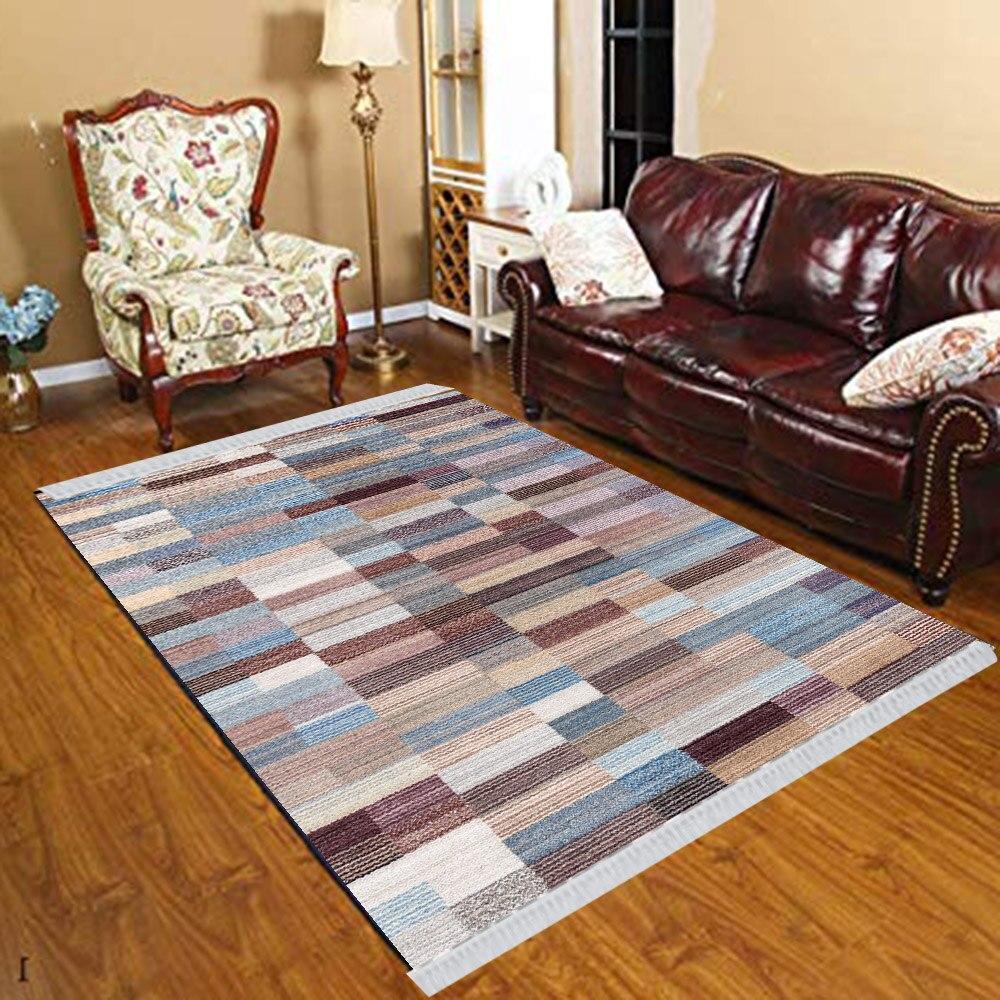 Else Blue Gray Damson Boxes Retro Geometric 3d Print Anti Slip Kilim Washable Decorative Kilim Tassel Rug Bohemian Carpet